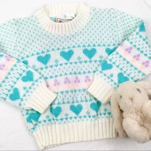 Vintage Heart Chunky Knit Sweater